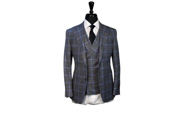 Grey with Baby Blue Windowpane Wool Mix Suit