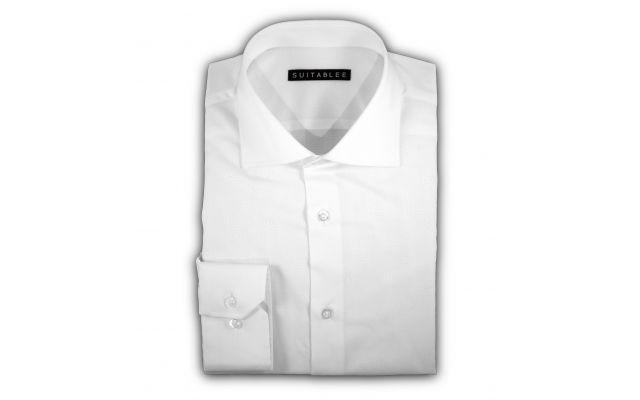 White Paisley Dobby Dress Shirt