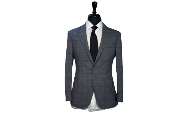 Grey with Blue Windowpane Comfort Suit