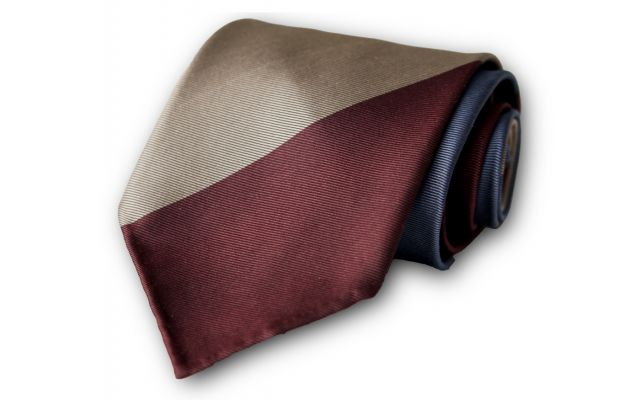 Burgundy Peanut Indigo Striped Silk Tie