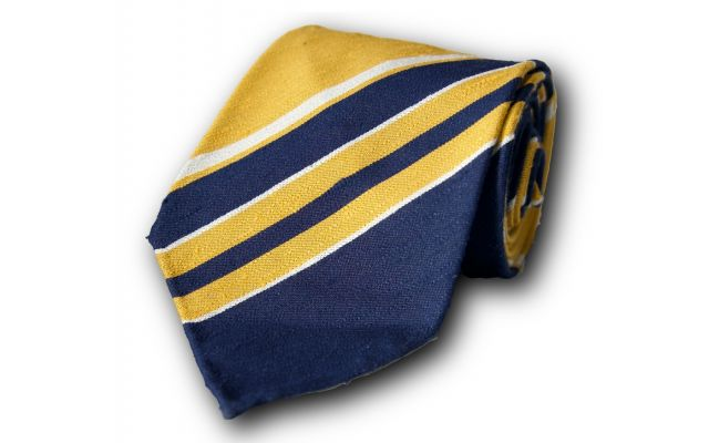 Yellow and Blue Striped Silk Tie