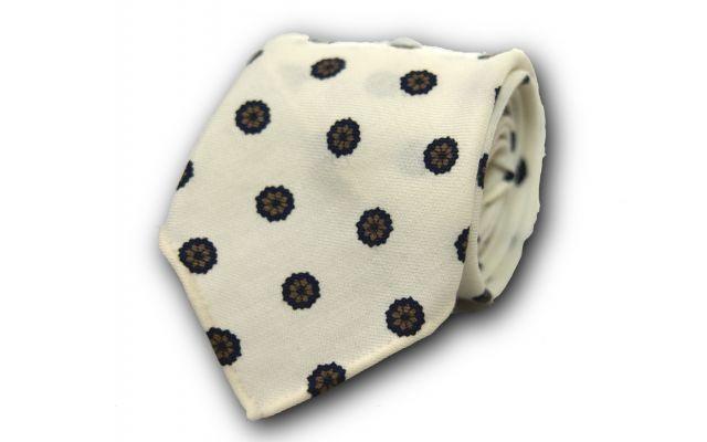 Ivory Foulard Wool Tie