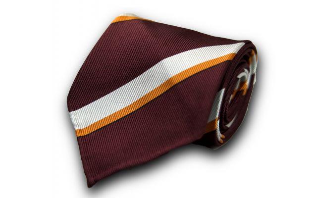 Burgundy Striped Silk Tie