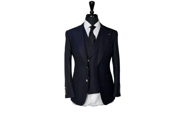 Midnight Blue Herringbone Striped Suit
