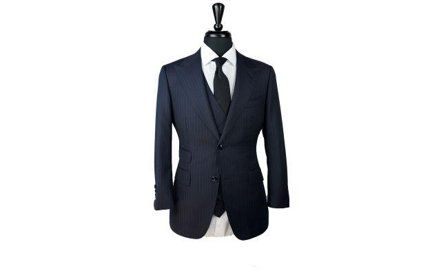 Denim Blue Pinstripe Wool Suit