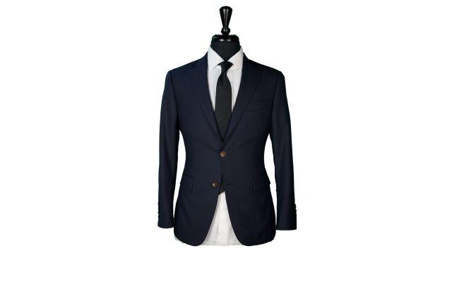 Midnight Blue Subtle Stripe Wool Suit