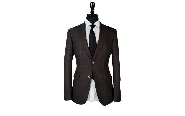 Brown Chambray Windowpane Wool Suit