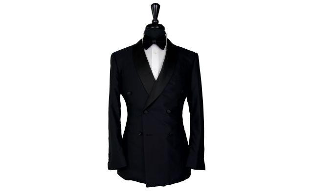 Black Shine Wool Double-Breasted Tuxedo