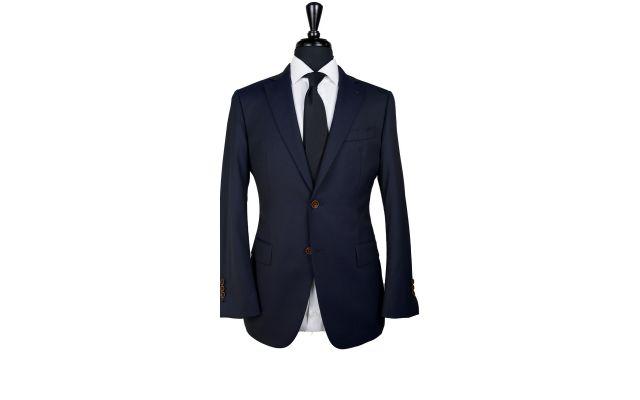 Midnight Blue Micro-Herringbone Wool Suit