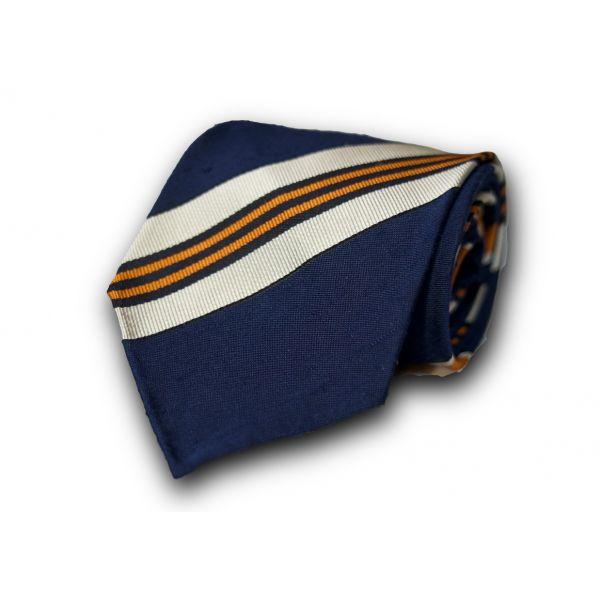 Navy Blue Orange Striped Silk Tie