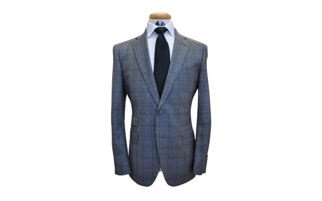 Greyish Blue Check Custom Wool Suit