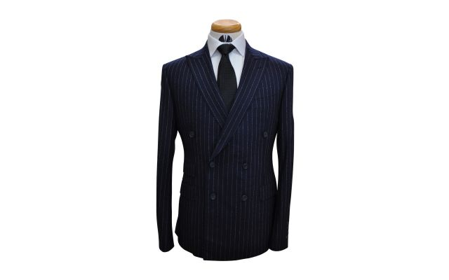 Navy Blue Fuzzy Pinstripe Custom Wool Suit
