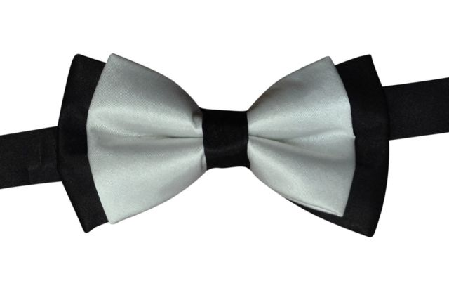 Black & White Satin Bowtie