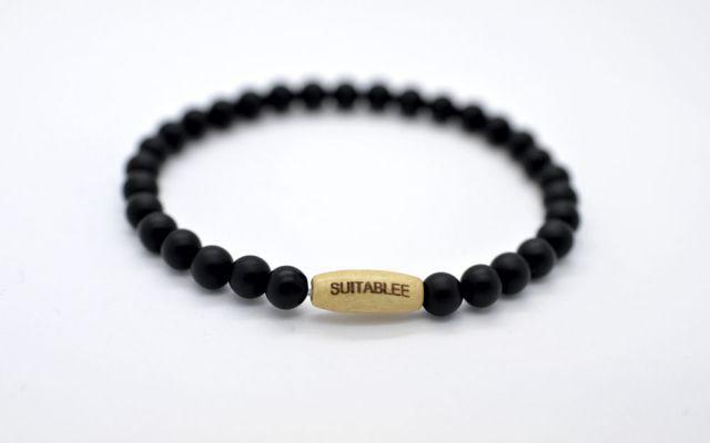 Blacklet (6mm) - Onyx Custom Engraved Bracelet