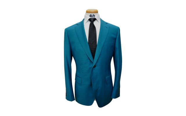 Teal Custom Wool Suit