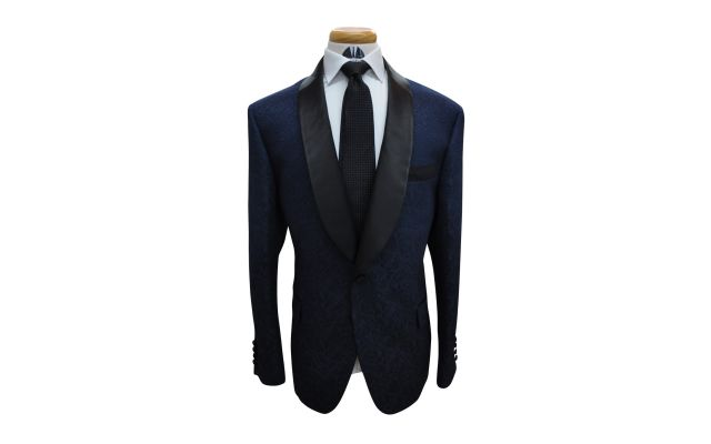 Blue Jacquard Custom Suit