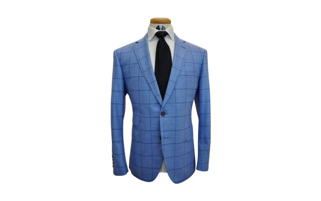 Baby Blue Windowpane Custom Wool Mix Suit