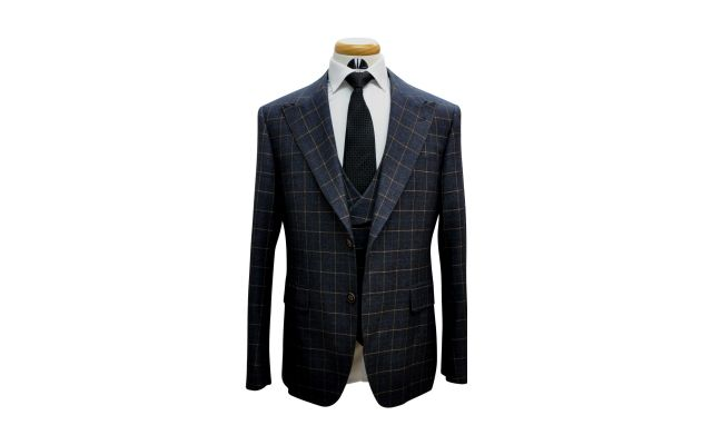 Charcoal with Orange Windowpane Custom Wool Suit