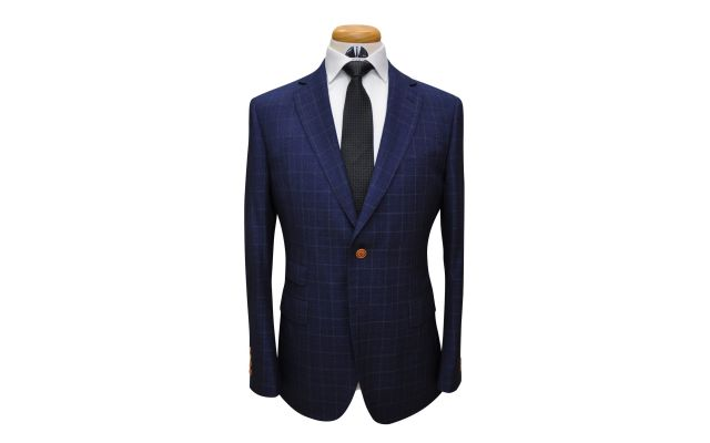Denim Blue Check Custom Wool Suit