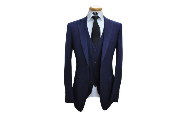 Navy Blue With Orange Pinstripe Custom Wool Suit