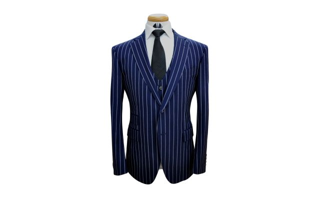 Navy Blue Large Pinstripe Custom Wool Suit