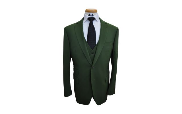 Basil Green Custom Wool Suit