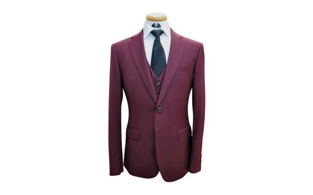 Classic Burgundy Custom Wool Suit