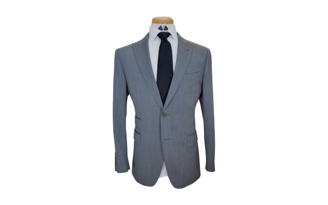 Sky Grey Herringbone Custom Wool Suit