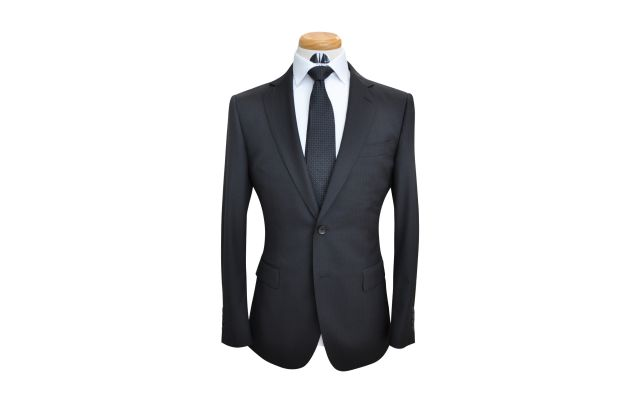 Black Herringbone Custom Wool Suit