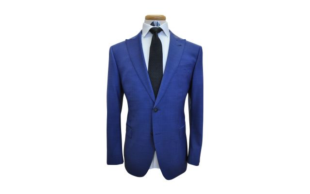 Persian Blue Sharkskin Custom Wool Suit