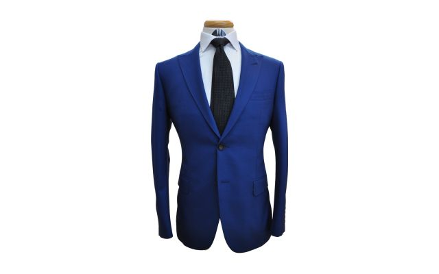 Electric Blue Custom Wool Suit