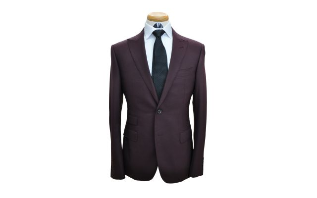 Wine Colored Custom Wool Suit