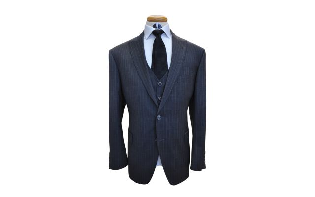 Dark Grey with Blue Pinstripe Custom Wool Suit