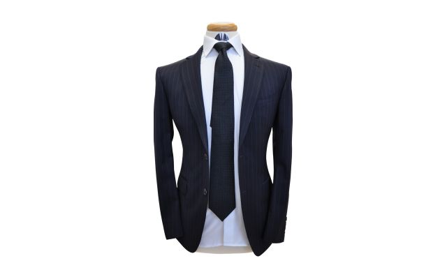 Midnight Blue Pinstripe Custom Wool Suit