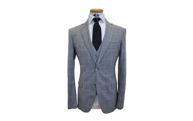 Grey Windowpane Wool Suit