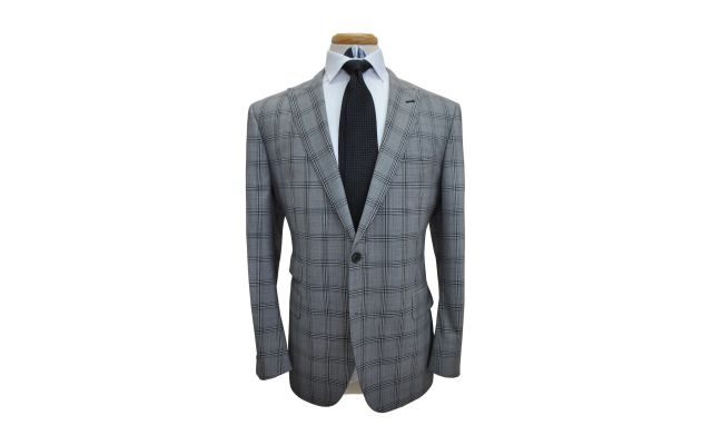 Light Grey Plaid Custom Suit