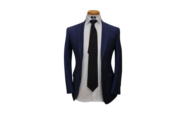 Blue Check Custom Wool Suit