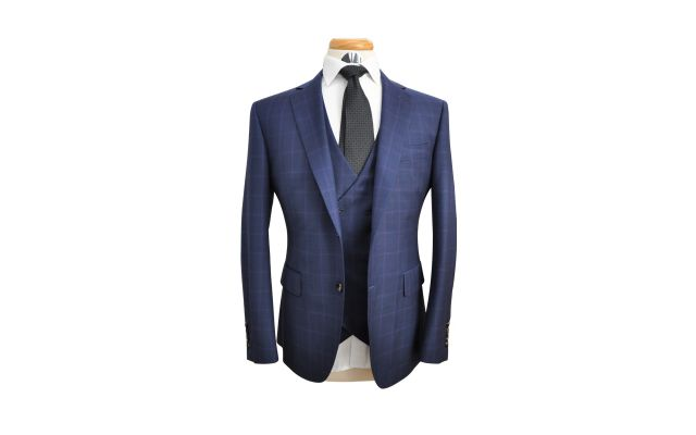 Space Blue Windowpane Custom Wool Suit