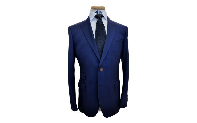 Navy Blue Windowpane Custom Wool Suit