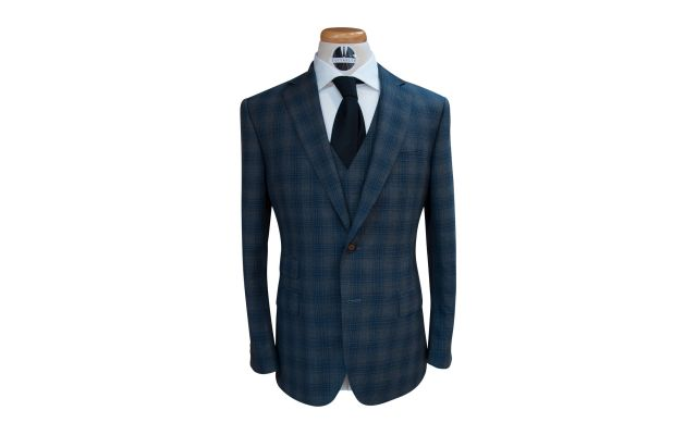 Dark Grey Blue Check Custom Wool Suit