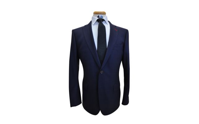 Midnight Blue Burgundy Windowpane Custom Wool Suit