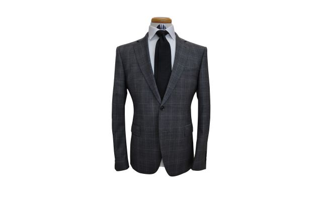 Dark Grey Windowpane Custom Wool Suit