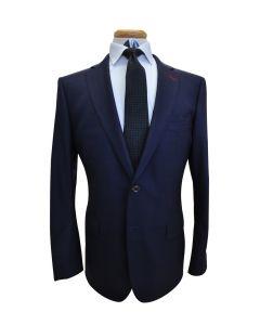 Midnight Blue Burgundy Windowpane Wool Suit