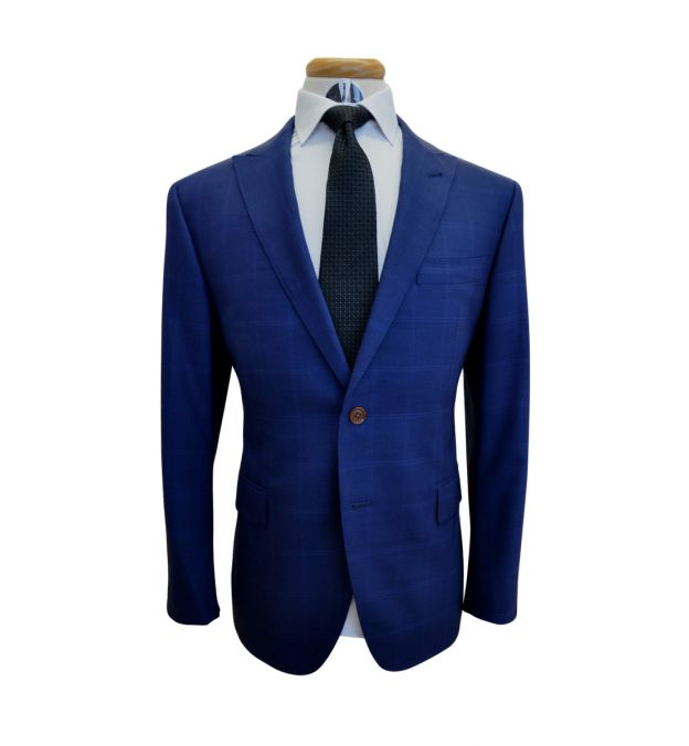 Cobalt Blue Windowpane Wool Suit