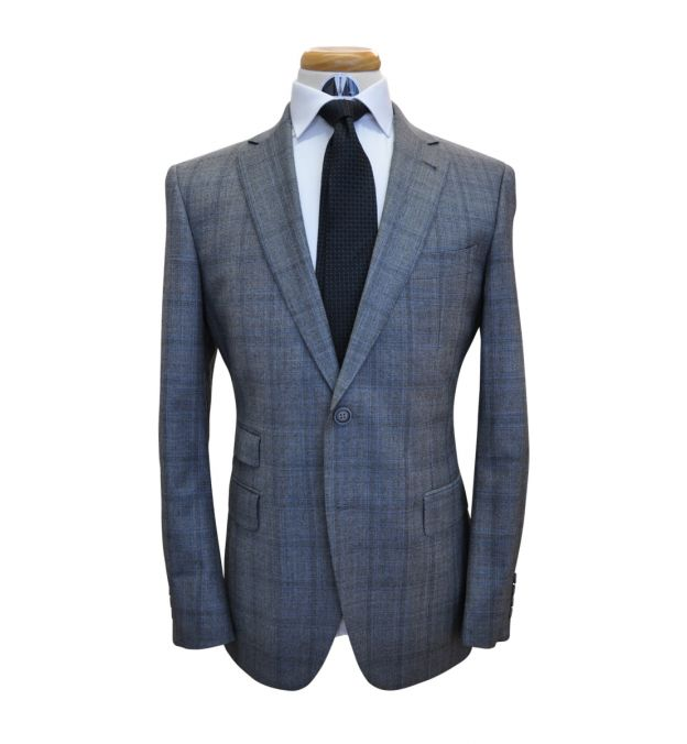 Grey with Blue Check Wool Suit