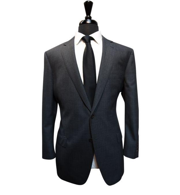Grey Herringbone Wool Suit