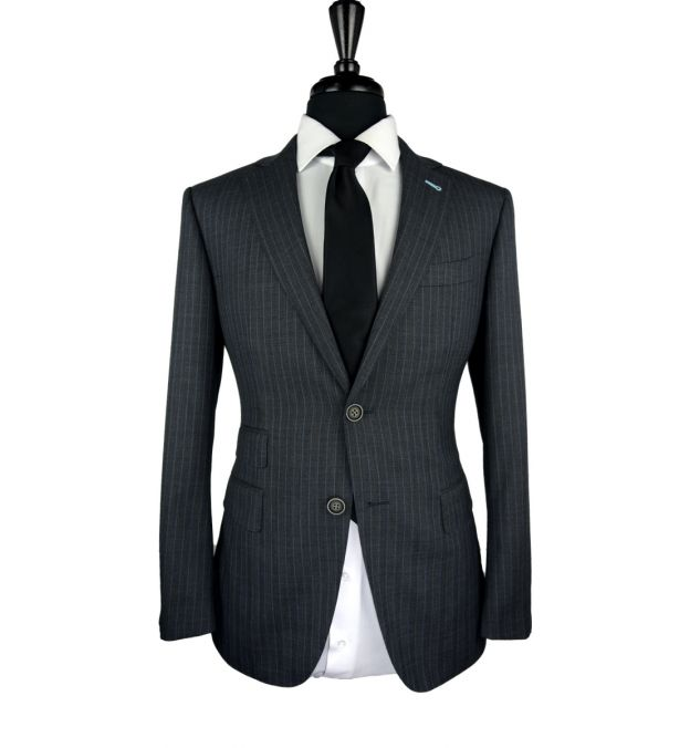 Metallic Herringbone Wool Suit