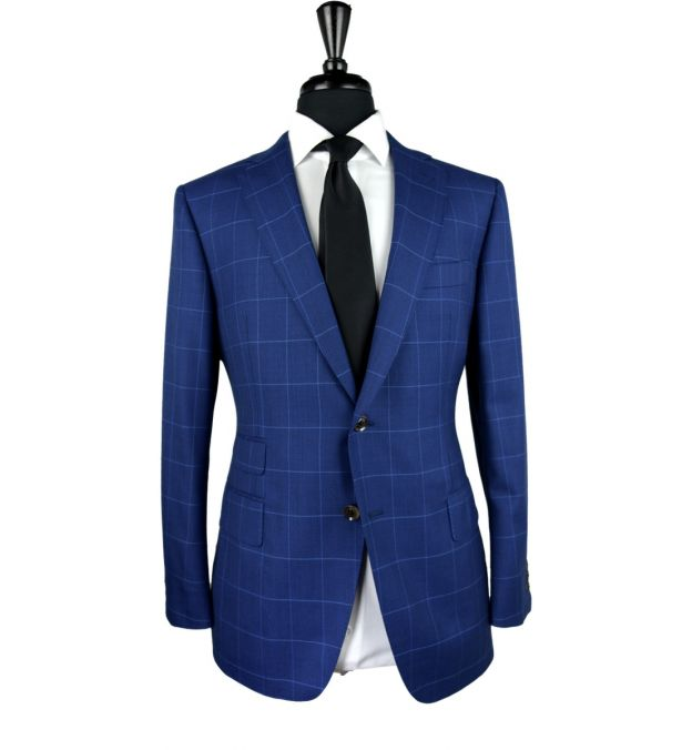 Blue Canvas Windowpane Wool Suit