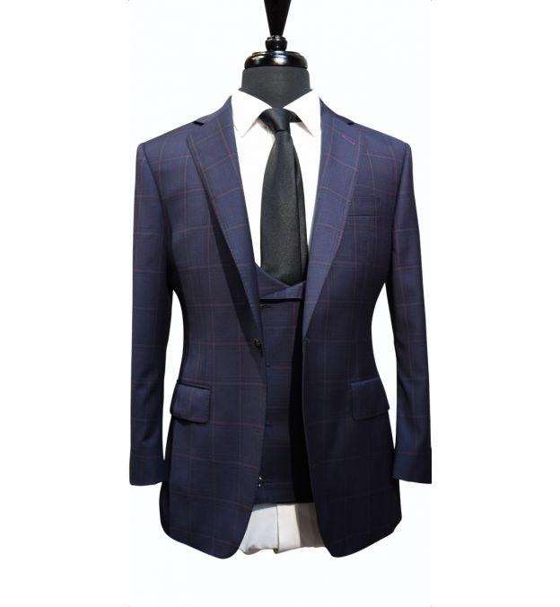 Raspberry Windowpane Wool Suit