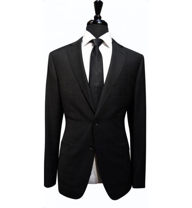 Black Windowpane Wool Suit